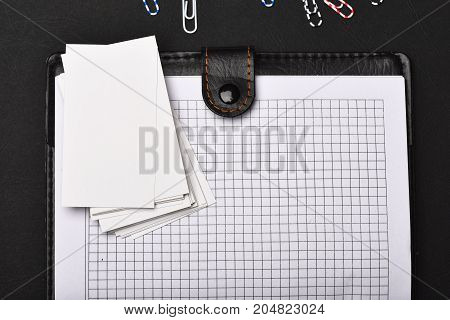 Leather Covered Notebook With Blank Pages On Black Background