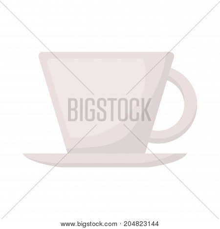 porcelain cup on dish in realistic colorful silhouette on white background vector illustration