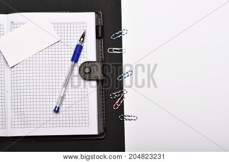Stationery And Leather Covered Notebook With Copy Space