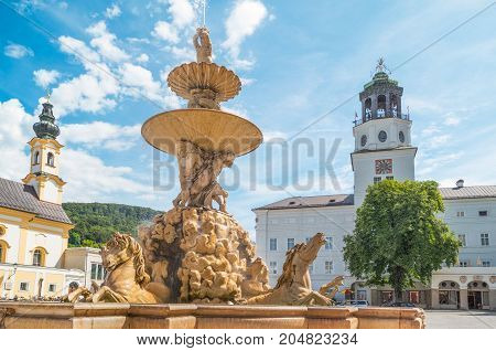 Austria Salzburg the fountain of Residence square in the old town