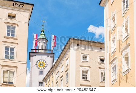 Austria Salzburg the palaces of the old town with the clock tower of the Town Hall in tehe background