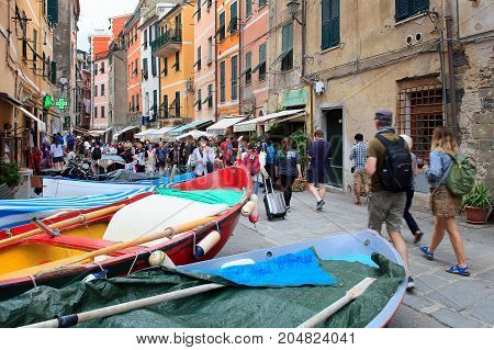 Manarola Riomaggiore (SP) Italy - September 15 2017: View of a street in the center of Manarola. Small motorboats are sprawled in the street under the houses. Manarola is a small town in the province of La Spezia in Liguria northern Italy.
