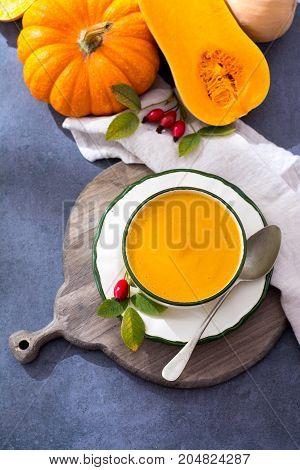 Homemade Cream Soup Made From Fresh Ripe Bottle Gourd Pumpkin