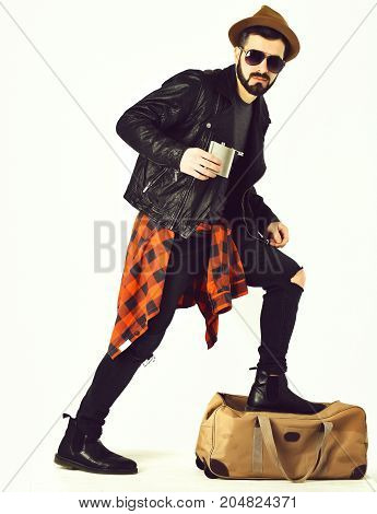Bearded Man, Caucasian Hipster With Moustache Holding Flask