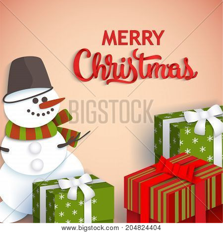 Merry Christmas greeting card template with paper cut snowman and present boxes, vector illustration. Merry Christmas, Xmas greeting card with flat style, paper cut presents and snowman