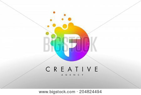F Rainbow Dots Letter Logo. Letter Design Vector With Colorful Dots