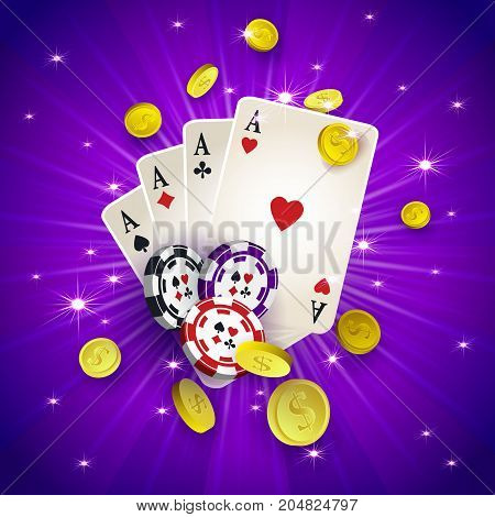 Casino banner, poster design with chips, tokens, playing cards, falling golden coins, vector illustration. Casino, gambling chips tokens playing cards and golden coins, banner, poster, postcard design