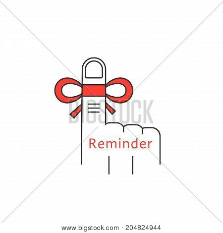 finger reminder thin line icon. concept of don t forget, amnesia, palm, sclerosis, always keep in mind, appointment. linear style trend modern logotype design vector illustration on white background