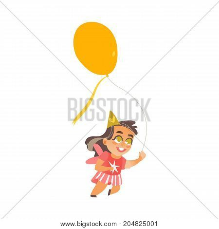 vector flat cartoon girl child dancing with big yellow balloon alone in red dress smiling. Little dancer female character. Isolated illustration on a white background. Kids party concept