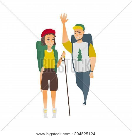 vector flat cartoon young man, woman hiking tourists waving hand smiling wearing backpack, watches cap trekking pole stick. Isolated illustration on a white background.