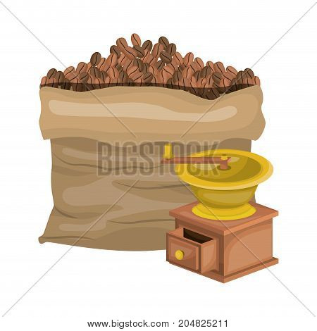 bag of coffee beans and griding with crank in realistic colorful silhouette on white background vector illustration