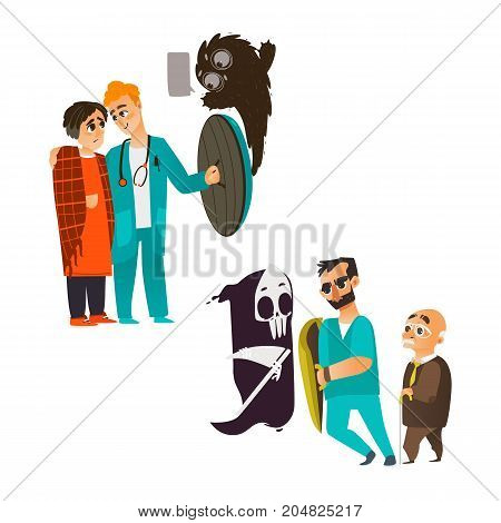 vector flat male doctor holding shield protecting male elder grey-haired patient from mental illness - fear of death, young man from anxiety and depression. Isolated illustration on a white background