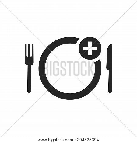black simple food ordering icon. concept of gourmet, yummy, promotion, foodie, delicious, healthy cuisine, pizzeria. flat style trend modern logotype design vector illustration on white background