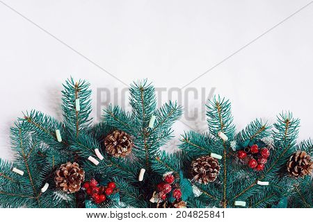 Green Christmas fir tree branches with cones isolated on white background. Top view. Copy space. Still life. Flat lay