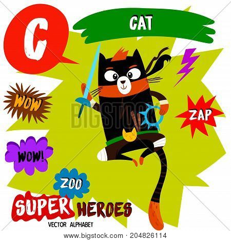Super Big Set. Cute Vector Zoo Alphabet With Animals In Cartoon Style.letter C-cat In Superheroes Co