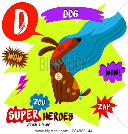 Super Big Set. Cute Vector Zoo Alphabet With Animals In Cartoon Style.letter D-dog In Superheroes Co