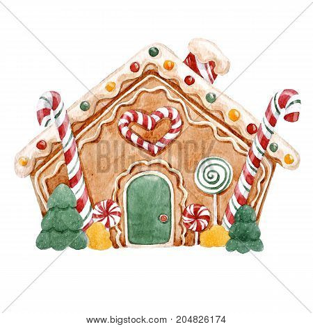 Beautiful illustration with watercolor christmas gingerbread house