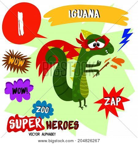 Super Big Set. Cute Vector Zoo Alphabet With Animals In Cartoon Style.letter I-iguana In Superheroes