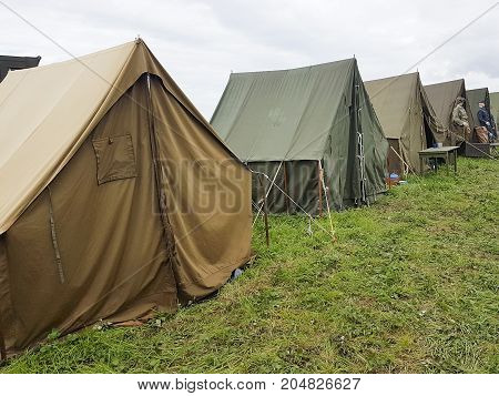 Very Big Military Tent In The Field For Placement Of Personnel On Military Range