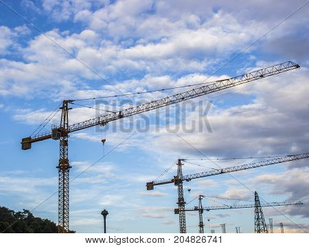 Colorful construction tower cranes with blue sky and cloud.