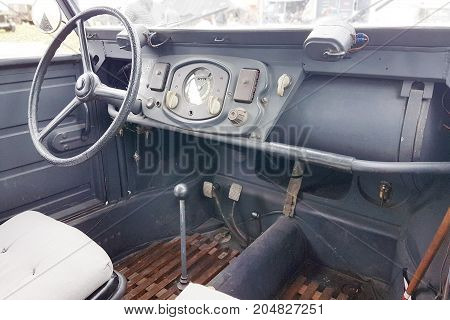 Close Up Of Dashboard Of Military Vehicle