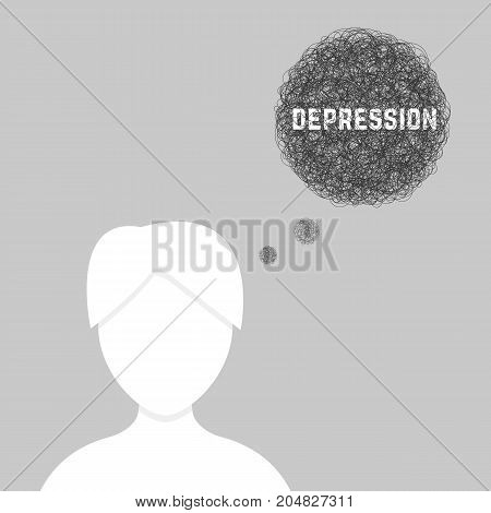 silhouette of woman in depression. concept of drama, rape, chaos, despair, social network portrait, deadline, despondency, mood. flat style trend modern design vector illustration on gray background