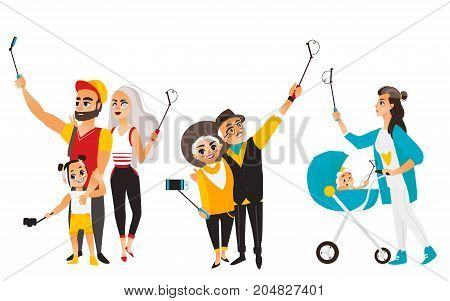 People, couples making selfie using phone and monopod, flat cartoon vector illustration isolated on white background. Young mother, couple and family members all making selfie with phones and monopods