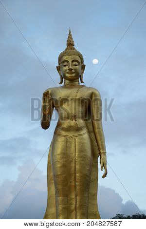 Buddha image statue at Hatyai public park Songkhal with moon