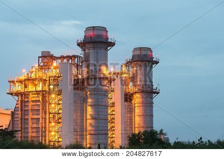 Industrial landscape with chimneys tank.Oil refinery industry