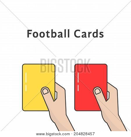 red and yellow football cards. concept of justice, trainer, umpire, disqualified, regulation, breach, remove from field. flat style trend modern design vector illustration on white background