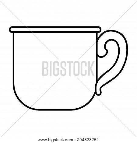 glass mug of coffee with handle monochrome silhouette vector illustration