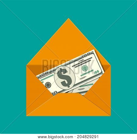 Dollar cash in envelope. Prize, money payroll, income. Send money. Hidden wages, salaries black payments, tax evasion. Vector illustration in flat style