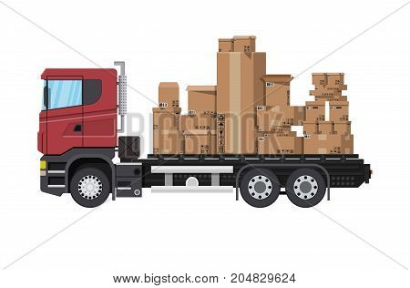 Red delivery truck transporting brown cardboard package. Pile cardboard boxes. Carton delivery packaging open and closed box with fragile signs. Vector illustration in flat style