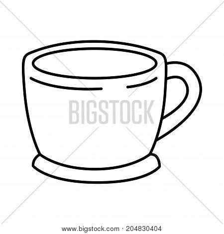 cup of coffee with handle monochrome silhouette vector illustration