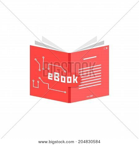 red ebook icon. concept of pdf info, dictionary, ebook reader, publication, screen, encyclopedia, training. flat style trend modern ebook logotype design vector illustration on white background
