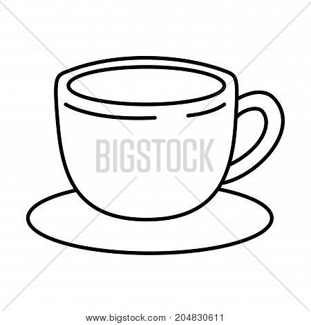 cup of coffee with handle on dish monochrome silhouette vector illustration