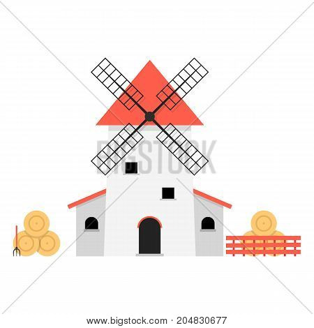 windmill with haystacks. concept of ranch, shack, valley, farmland, hay pitchfork, product, agricultural, fence, rural economy. flat style trend modern design vector illustration on white background