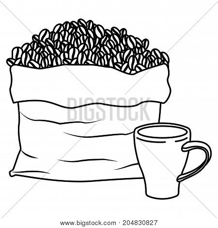 bag with beans and mug of coffee with handle monochrome silhouette vector illustration