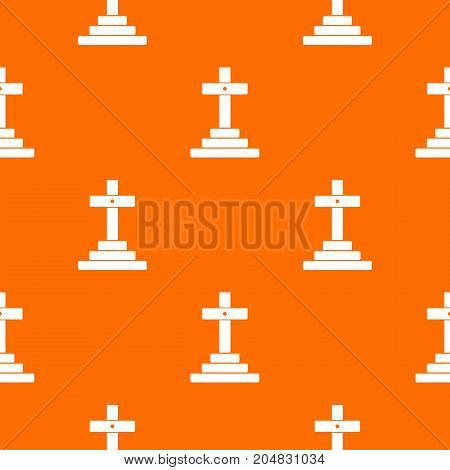 Grave pattern repeat seamless in orange color for any design. Vector geometric illustration