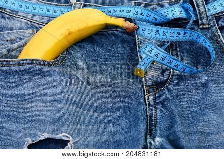 Health And Male Sexuality Concept: Banana Sticking Out Of Pocket
