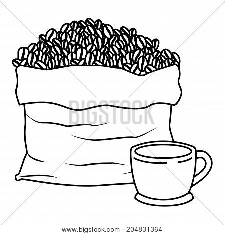 bag with beans and cup of coffee with handle monochrome silhouette vector illustration