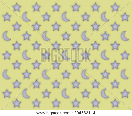 Glowing moons and stars pattern on a light yellow background