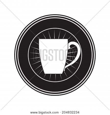 decorative circular emblem of porcelain mug of coffee with handle black silhouette vector illustration