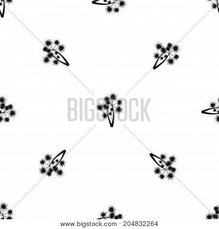 Prickly palm pattern repeat seamless in black color for any design. Vector geometric illustration