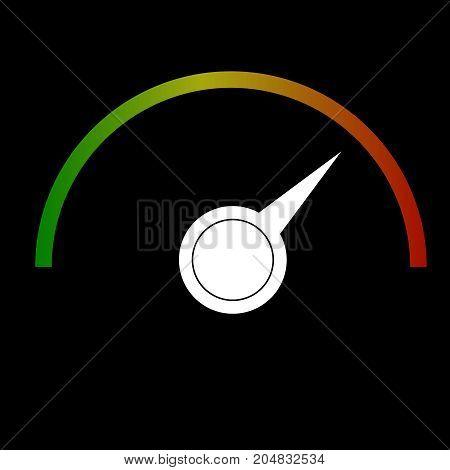 vector gauge speedmeter green to red icon