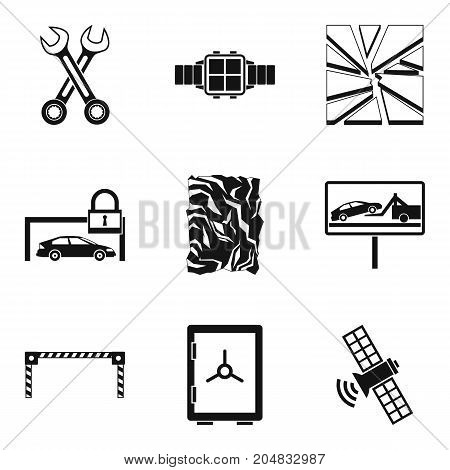 Damaged car icons set. Simple set of 9 damaged car vector icons for web isolated on white background