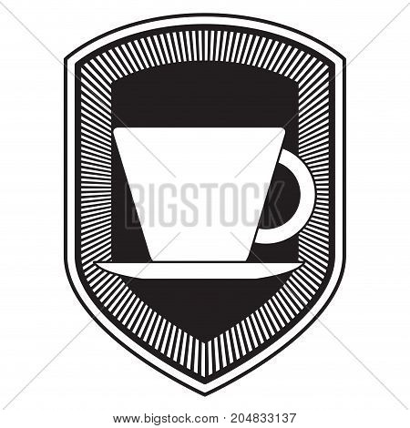 decorative logo shield of porcelain cup on dish black silhouette vector illustration