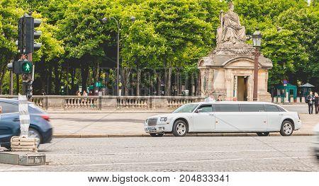 Rental Limousine Parked At Place Du Trcadéro In Paris, France