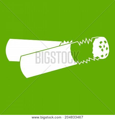 Cigarette butt icon white isolated on green background. Vector illustration