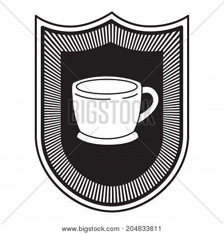 logo badge decorative of cup of coffee with handle black silhouette vector illustration